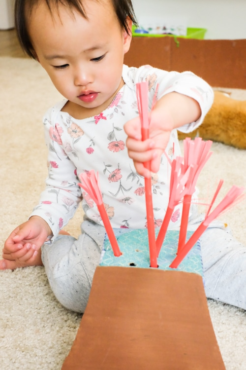Straw poking fine motor activity for toddler