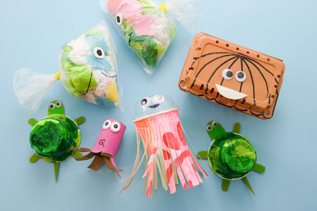 Sea creatures made from recycled items