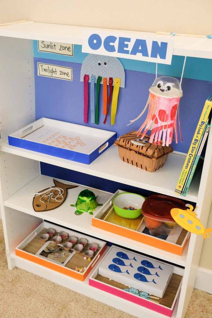 Ocean theme learning activities and shelf