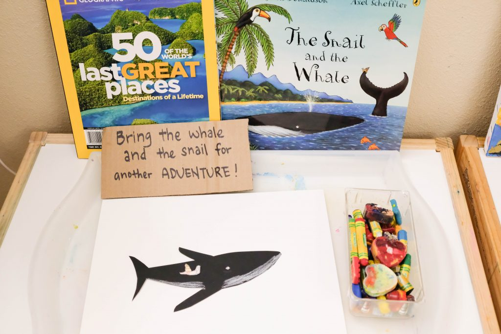 Setting up the Snail and the Whale Art activity