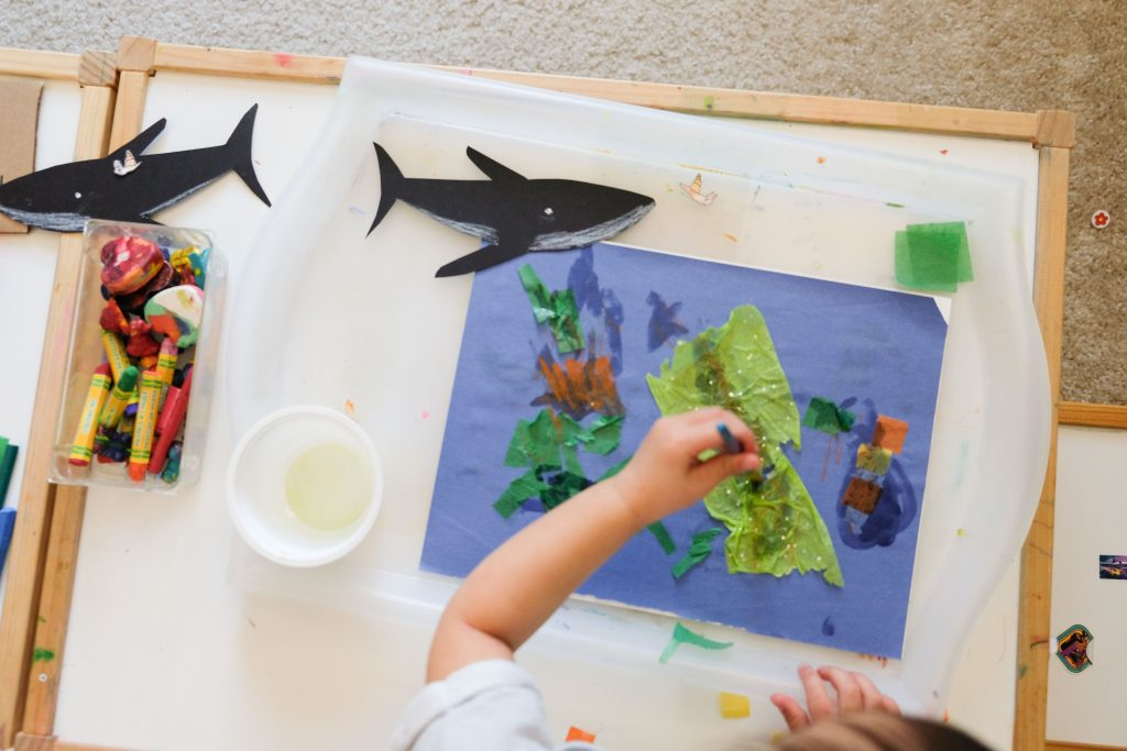 Collage inspired by the book The Snail and the Whale by toddler