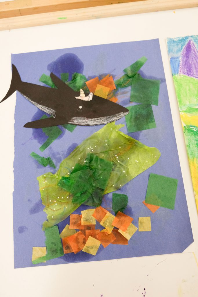 Artwork by toddler inspired by the book The Snail and the Whale