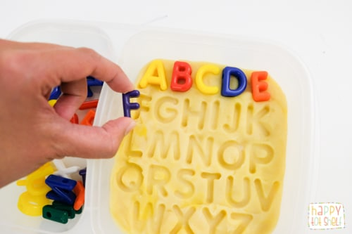Letter matching with play dough activity for kids
