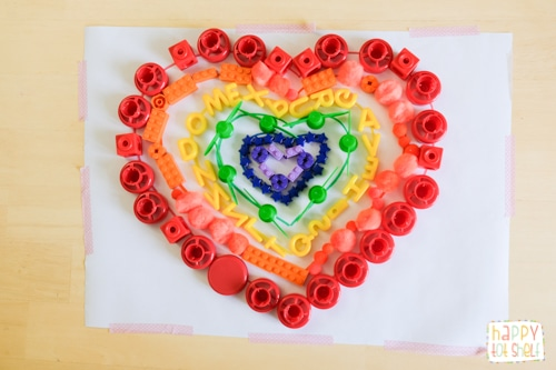 Rainbow hearts Fine motor activity for kids using Loose Parts