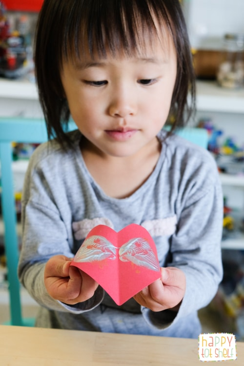 Symmetry Hearts Printing. A Valentine's Day Art for Kids