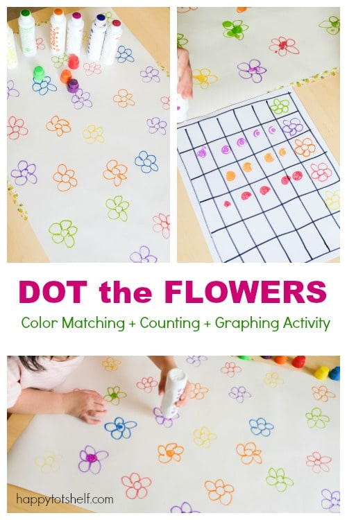 Flower color matching and counting activity for kids
