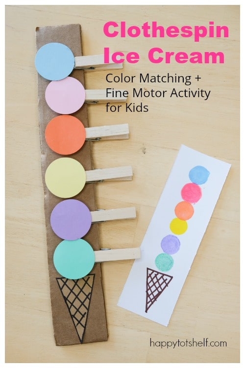 Clothespin Ice Cream Color Matching Activity for Kids