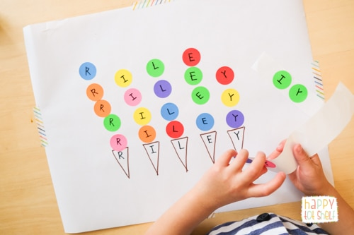 Ice Cream Dot Stickers Name Activity