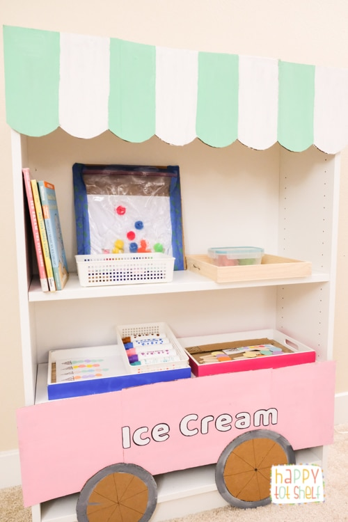 Ice Cream Theme Activities and shelf for children