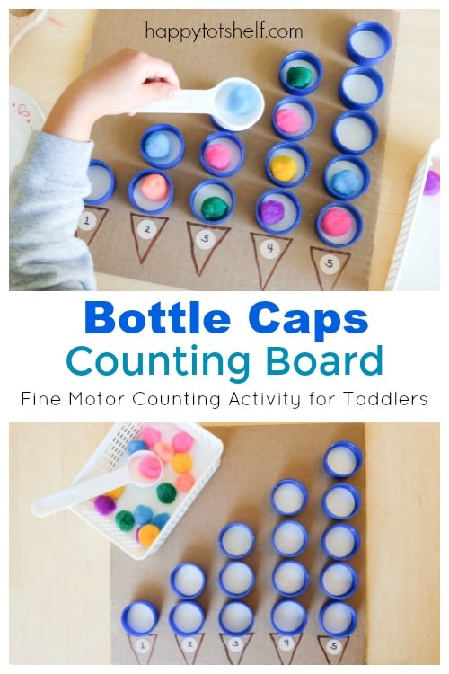 Bottle Caps Counting Board - A fine motor counting Activity for Toddlers