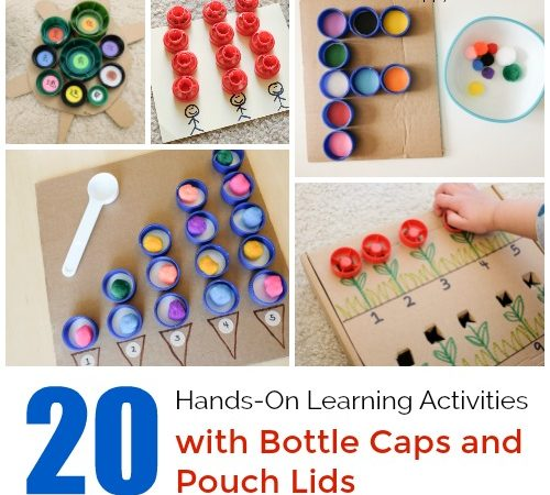 20 Learning activities with Bottle caps and pouch lids
