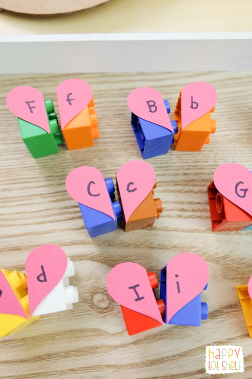 Hearts Letter Matching Duplo Activity