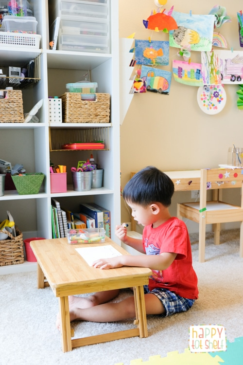 Floor table in a learning space for young children