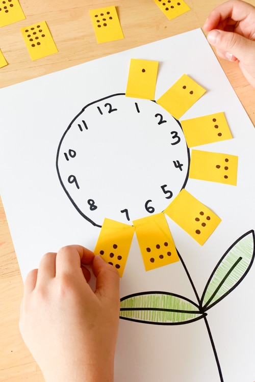Counting sunflower activity for preschoolers