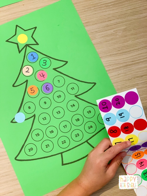 Christmas Tree Counting for Preschoolers