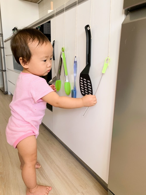 1 year old activity - kitchen discovery wall