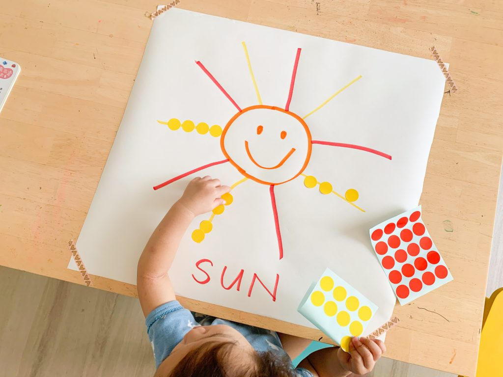 dot sticker sun weather theme activity for toddlers