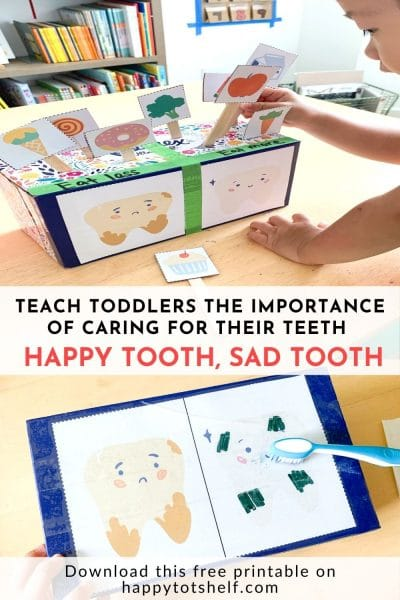 Happy tooth and sad tooth activity to teach children about dental health