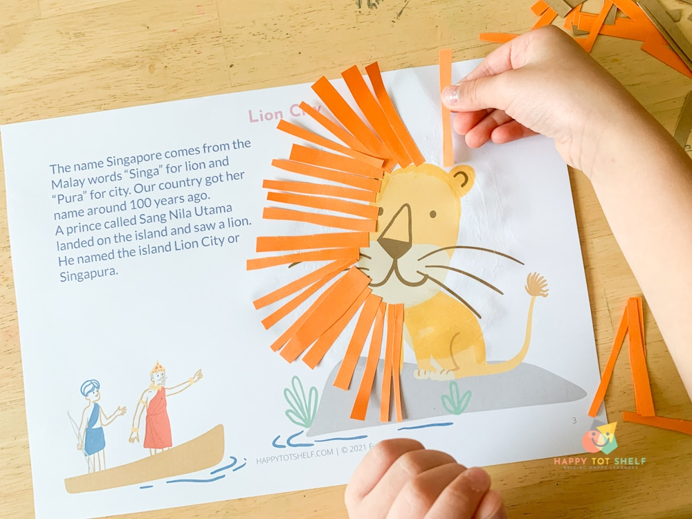 An cutting and pasting activity for kids to learn how Singapore gets her name