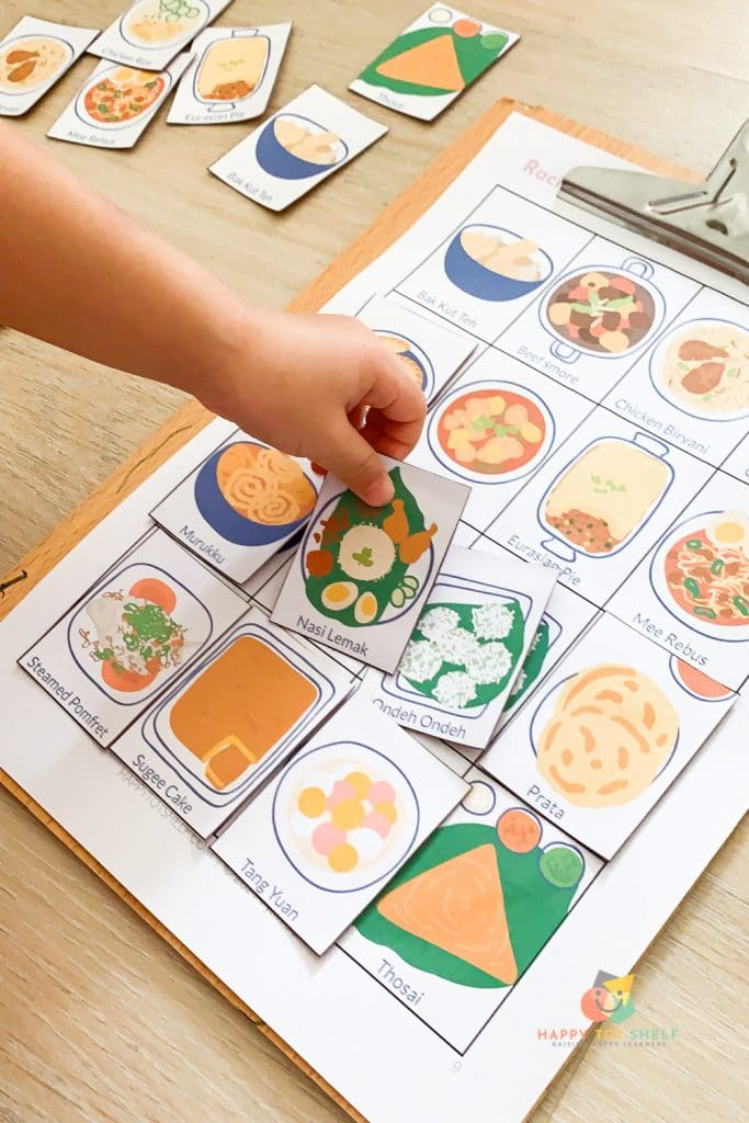A matching game for children to learn about traditional food in Singapore