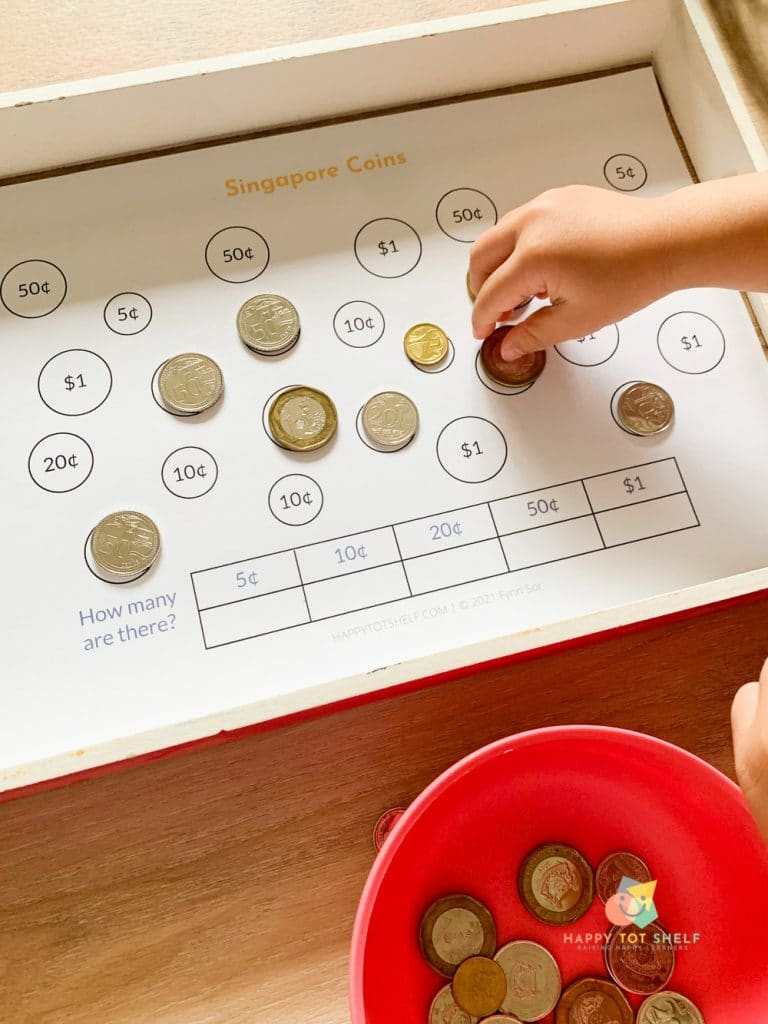 An activity for children to learn to recognize, sort and count the Singapore coins.