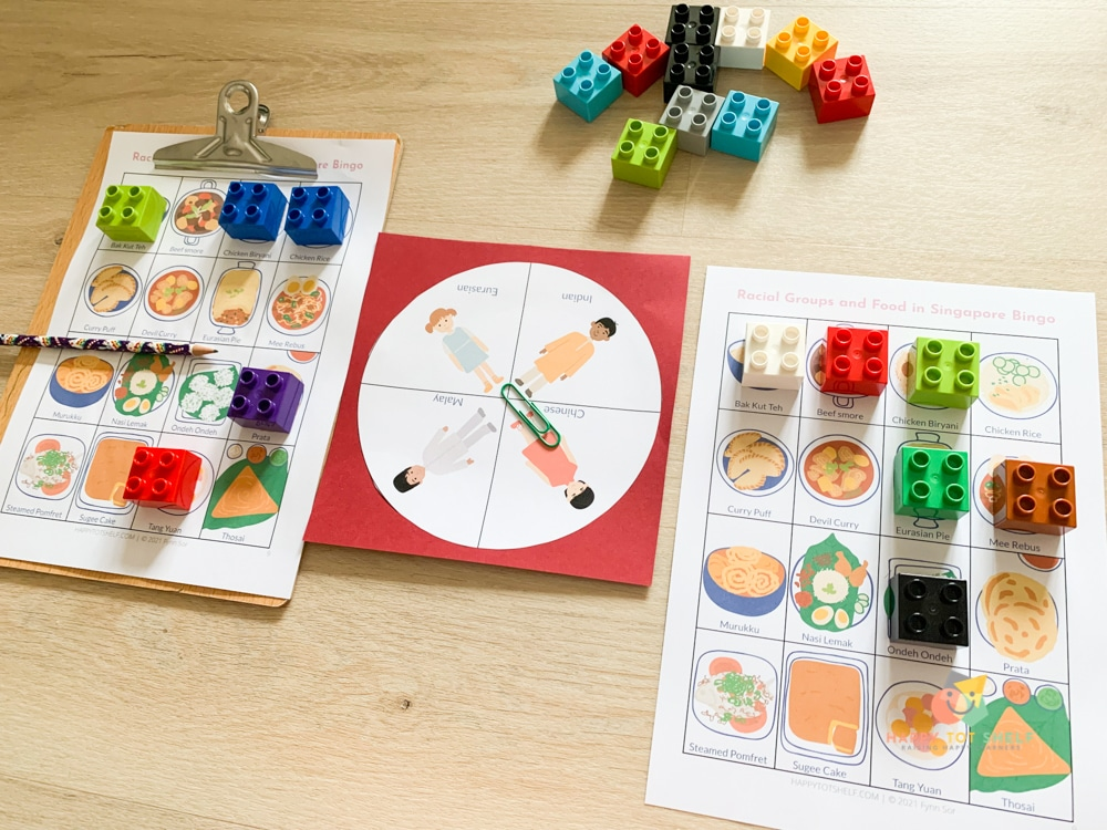 A bingo game to learn about four major races in Singapore and their traditional food